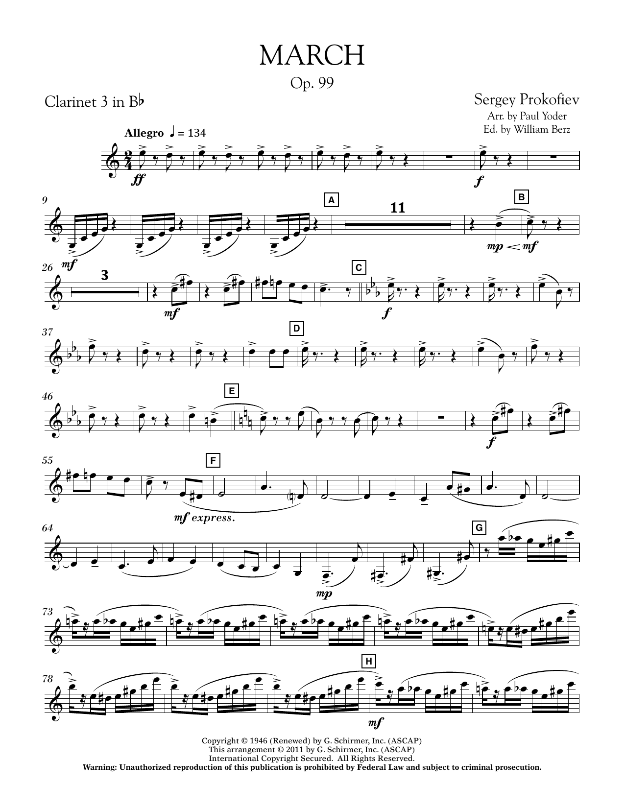 March, Op. 99 - Bb Clarinet 3 (Concert Band)