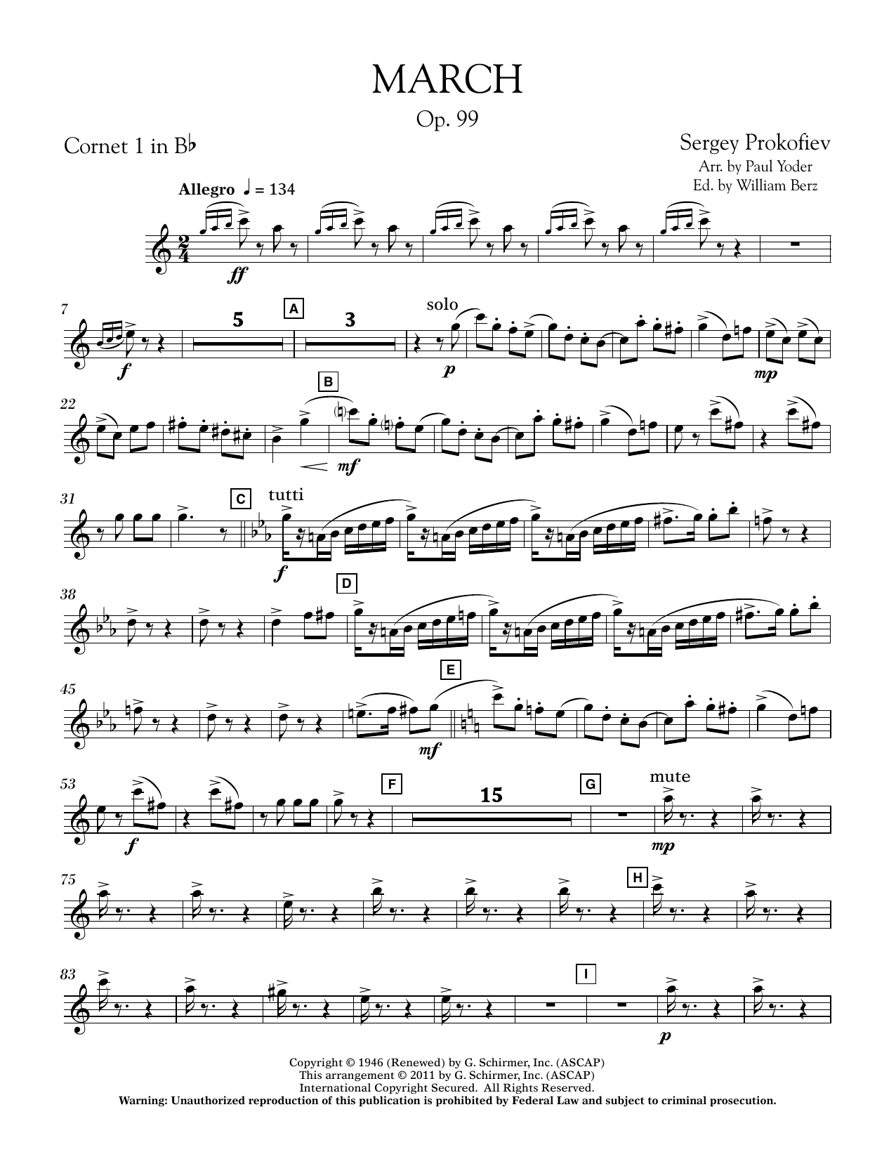 March, Op. 99 - Bb Cornet 1 (Concert Band)