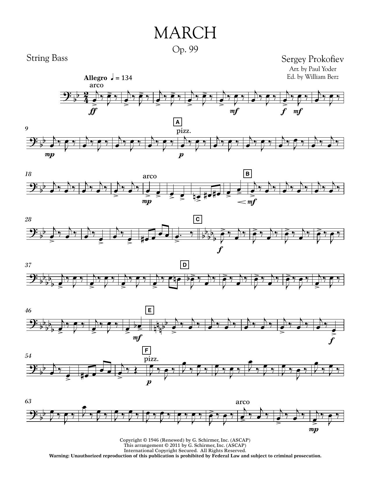 March, Op. 99 - String Bass (Concert Band)