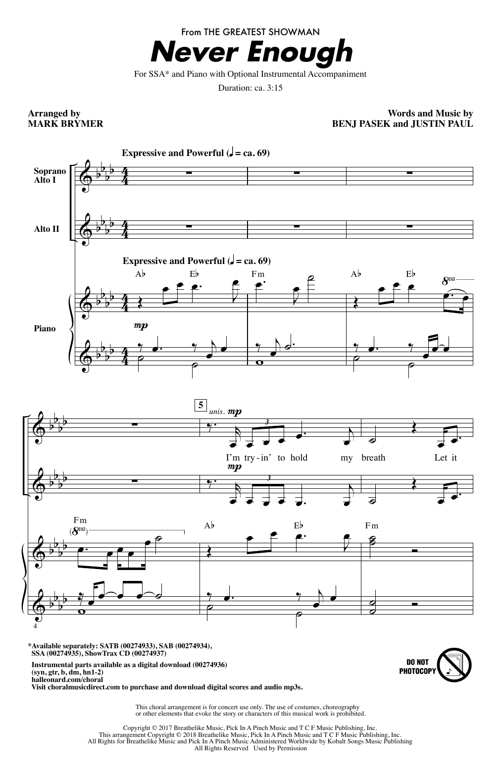 Never Enough (from The Greatest Showman) (arr. Mark Brymer) Sheet Music
