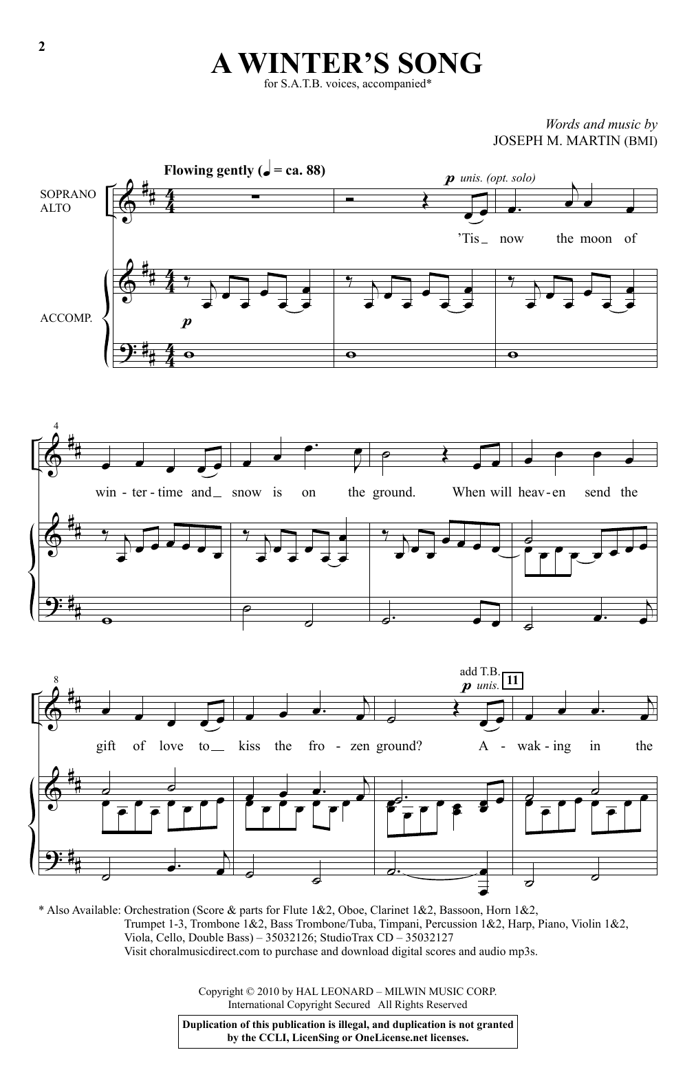 A Winter's Song (from Winter's Grace) (SATB Choir)
