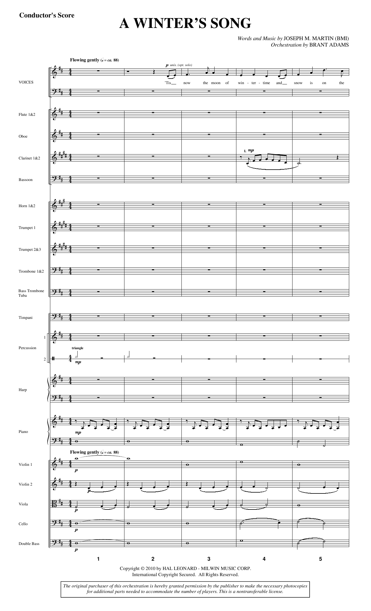 A Winter's Song (from Winter's Grace) - Full Score Sheet Music