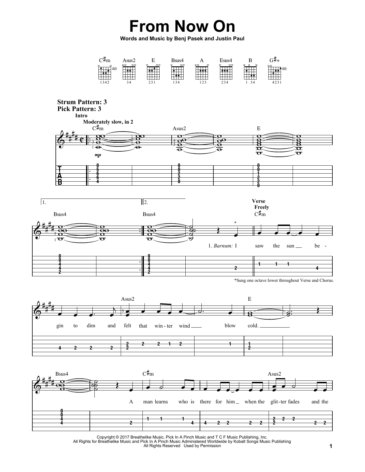 From Now On (from The Greatest Showman) (Easy Guitar Tab)