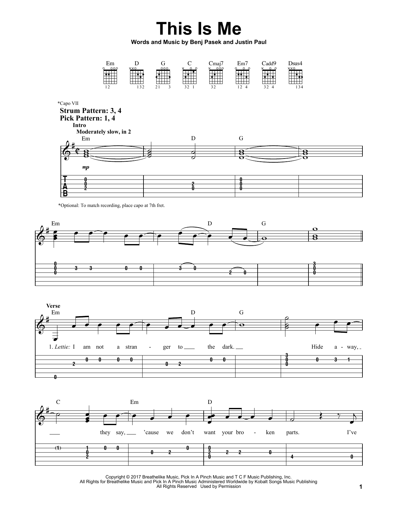 This Is Me (from The Greatest Showman) (Easy Guitar Tab)