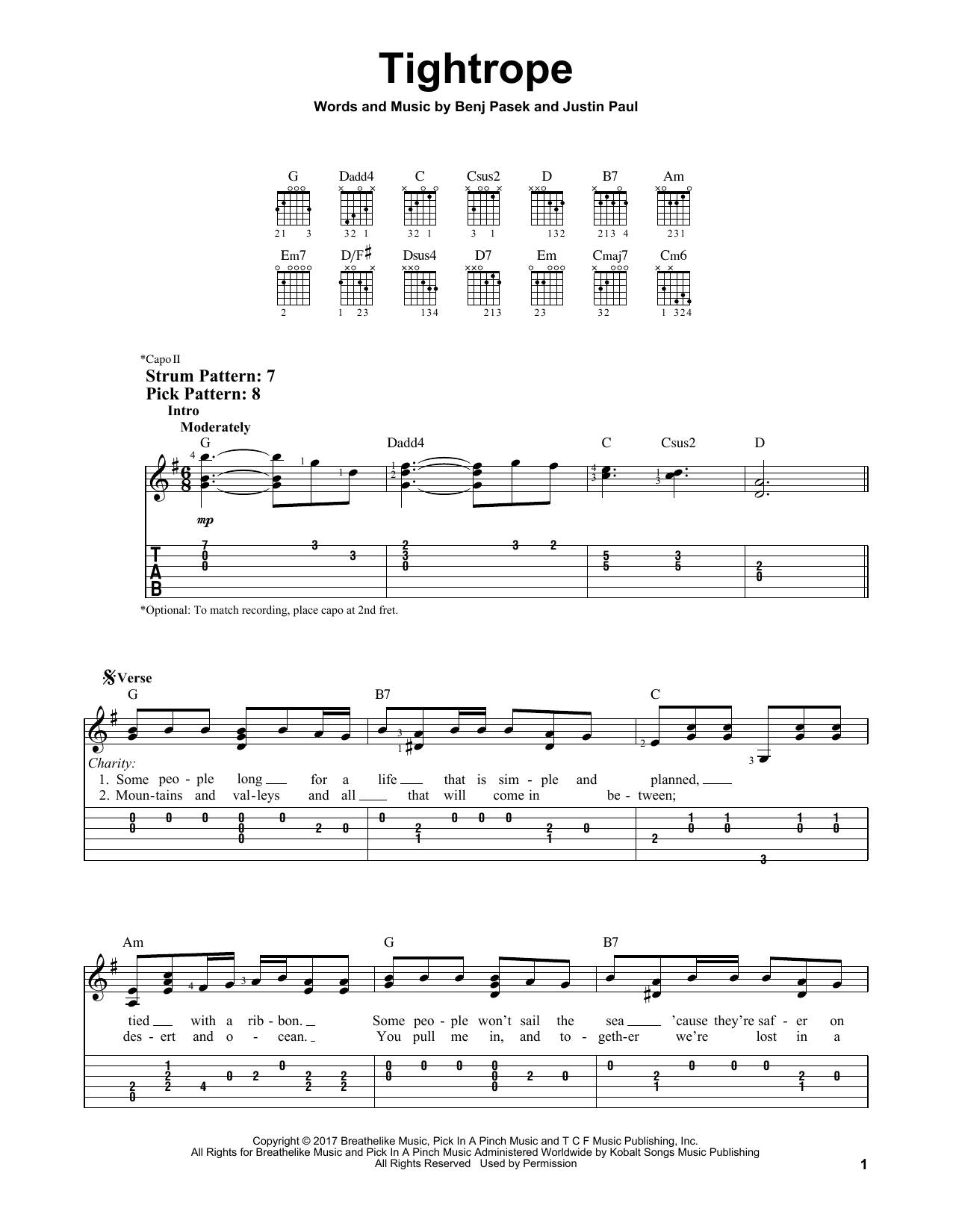 Tightrope (from The Greatest Showman) (Easy Guitar Tab)