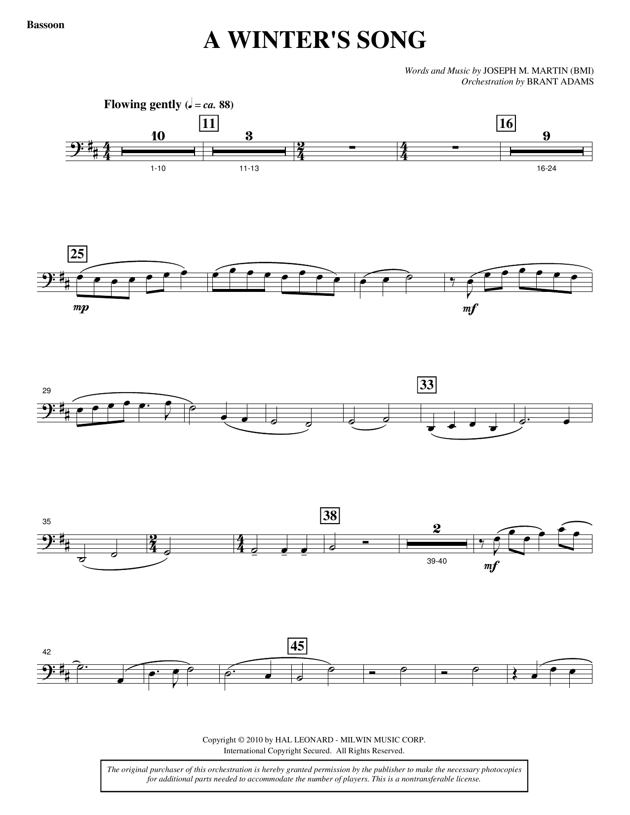 A Winter's Song (from Winter's Grace) - Bassoon Sheet Music