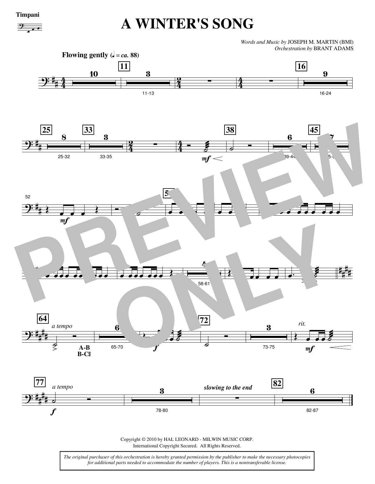 A Winter's Song (from Winter's Grace) - Timpani Sheet Music