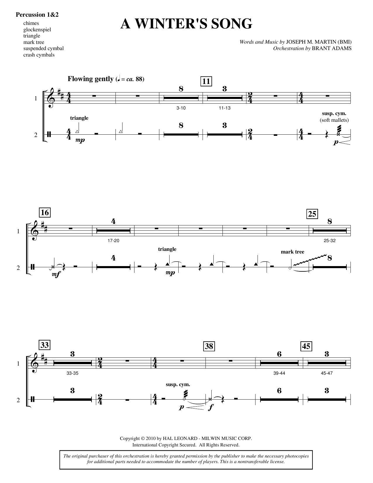 A Winter's Song (from Winter's Grace) - Percussion 1 & 2 Sheet Music