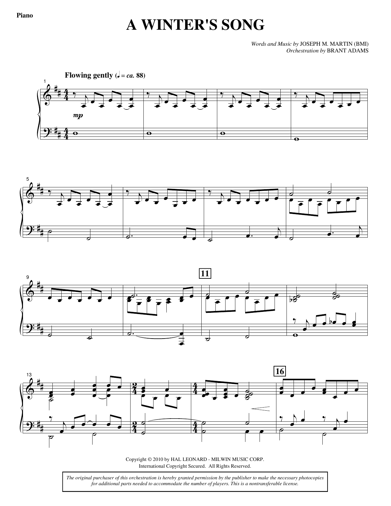 A Winter's Song (from Winter's Grace) - Piano (Choir Instrumental Pak)
