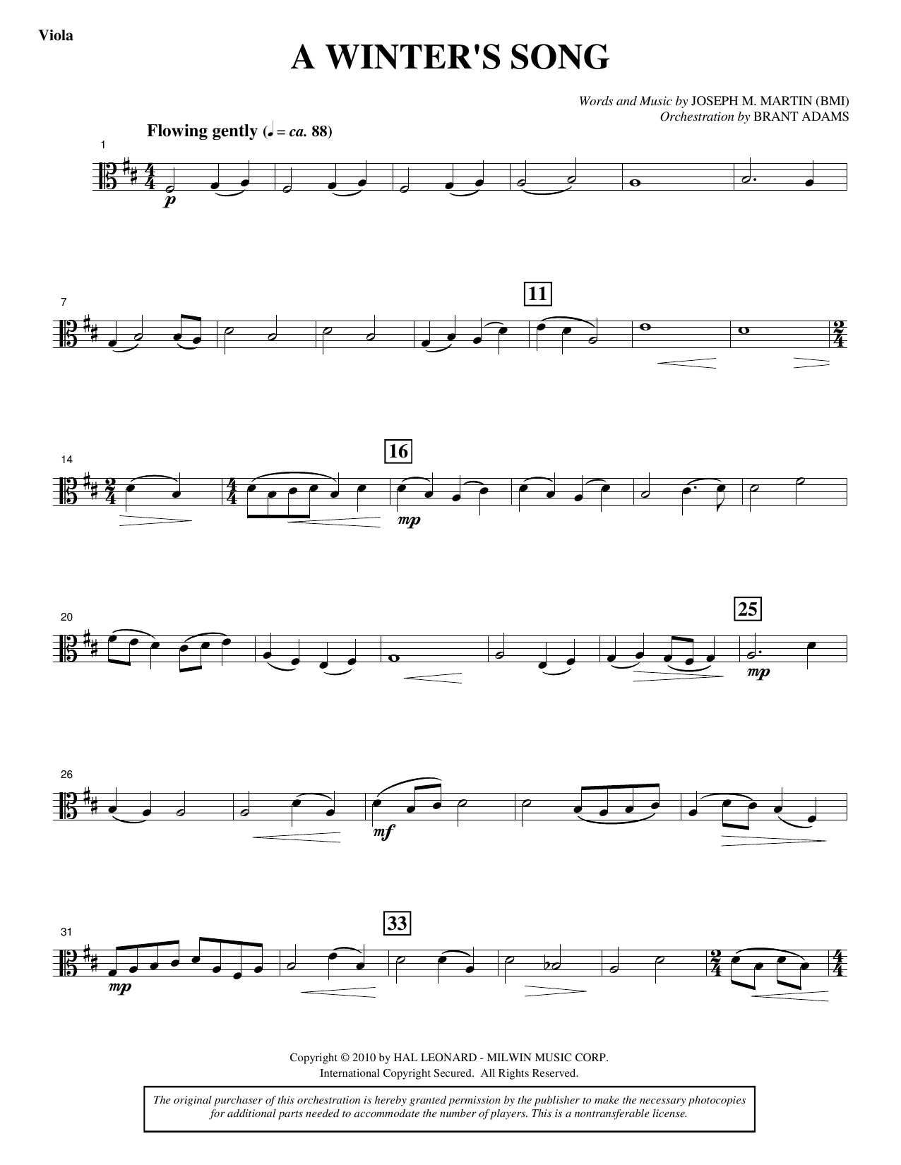 A Winter's Song (from Winter's Grace) - Viola Sheet Music