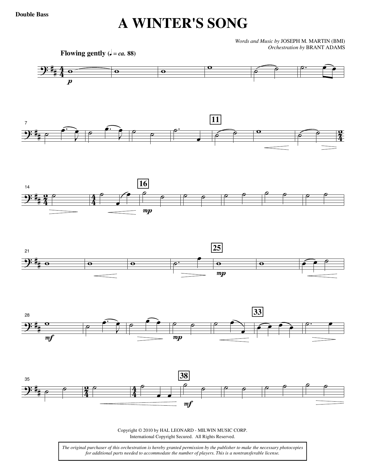A Winter's Song (from Winter's Grace) - Double Bass Sheet Music