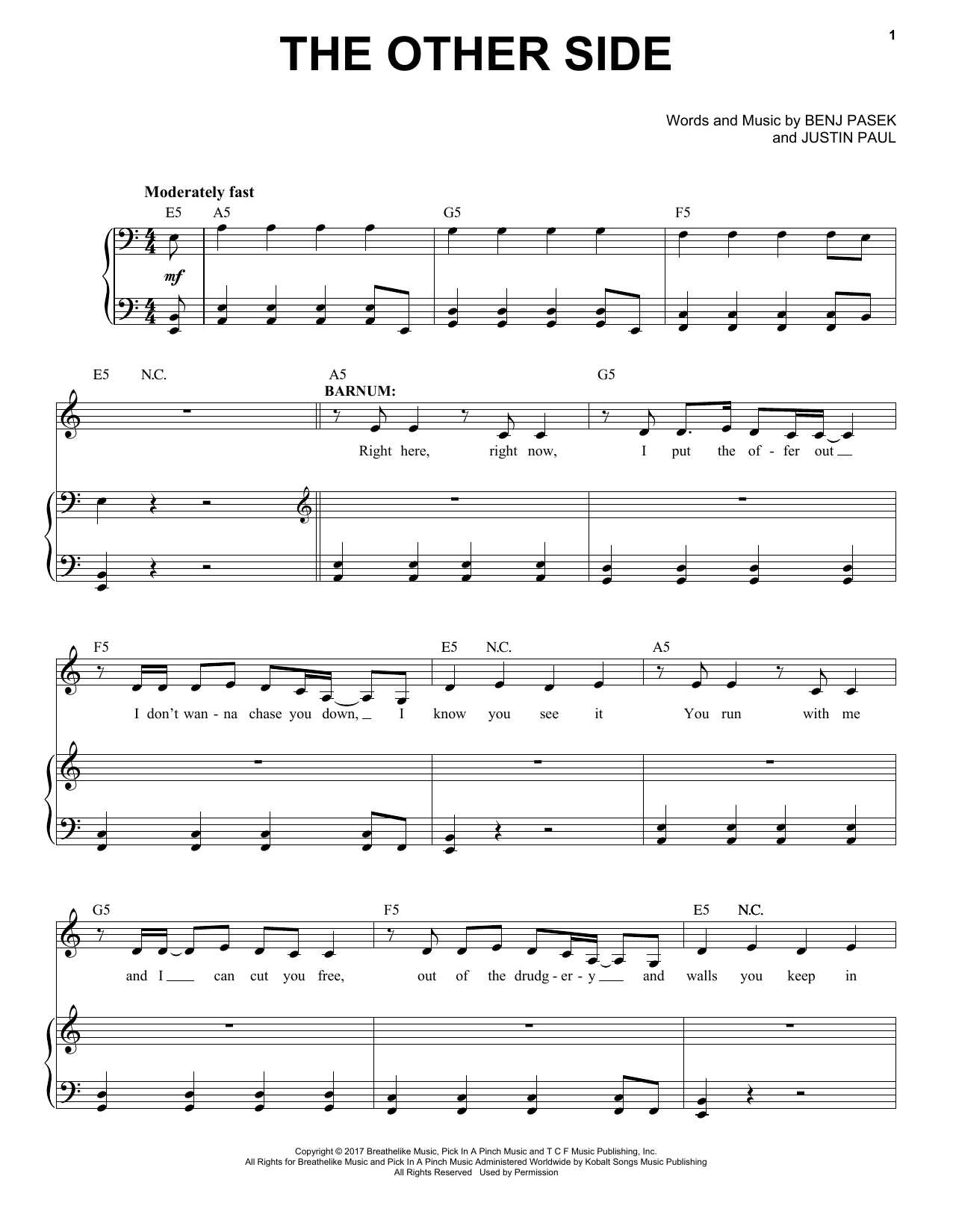 The Other Side (from The Greatest Showman) (Piano & Vocal)