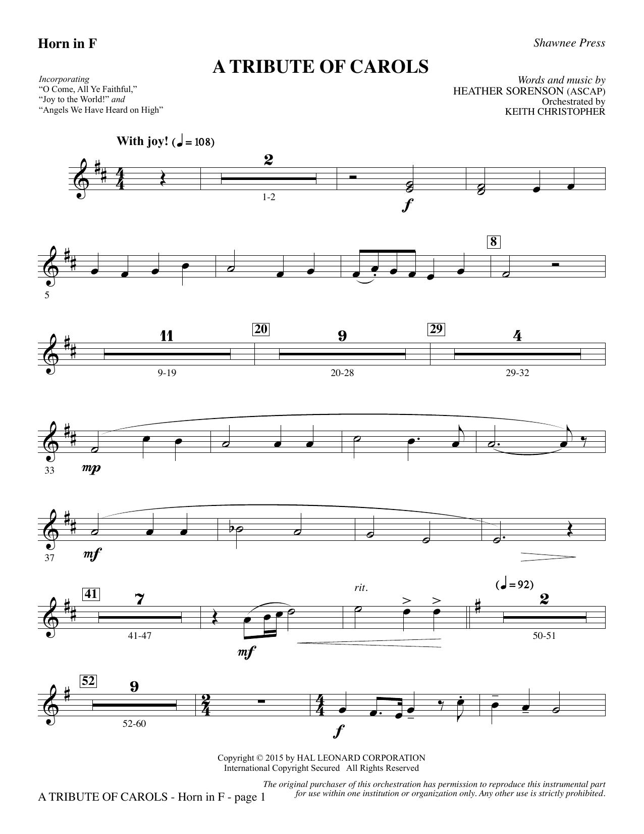 A Tribute of Carols - F Horn (Choir Instrumental Pak)