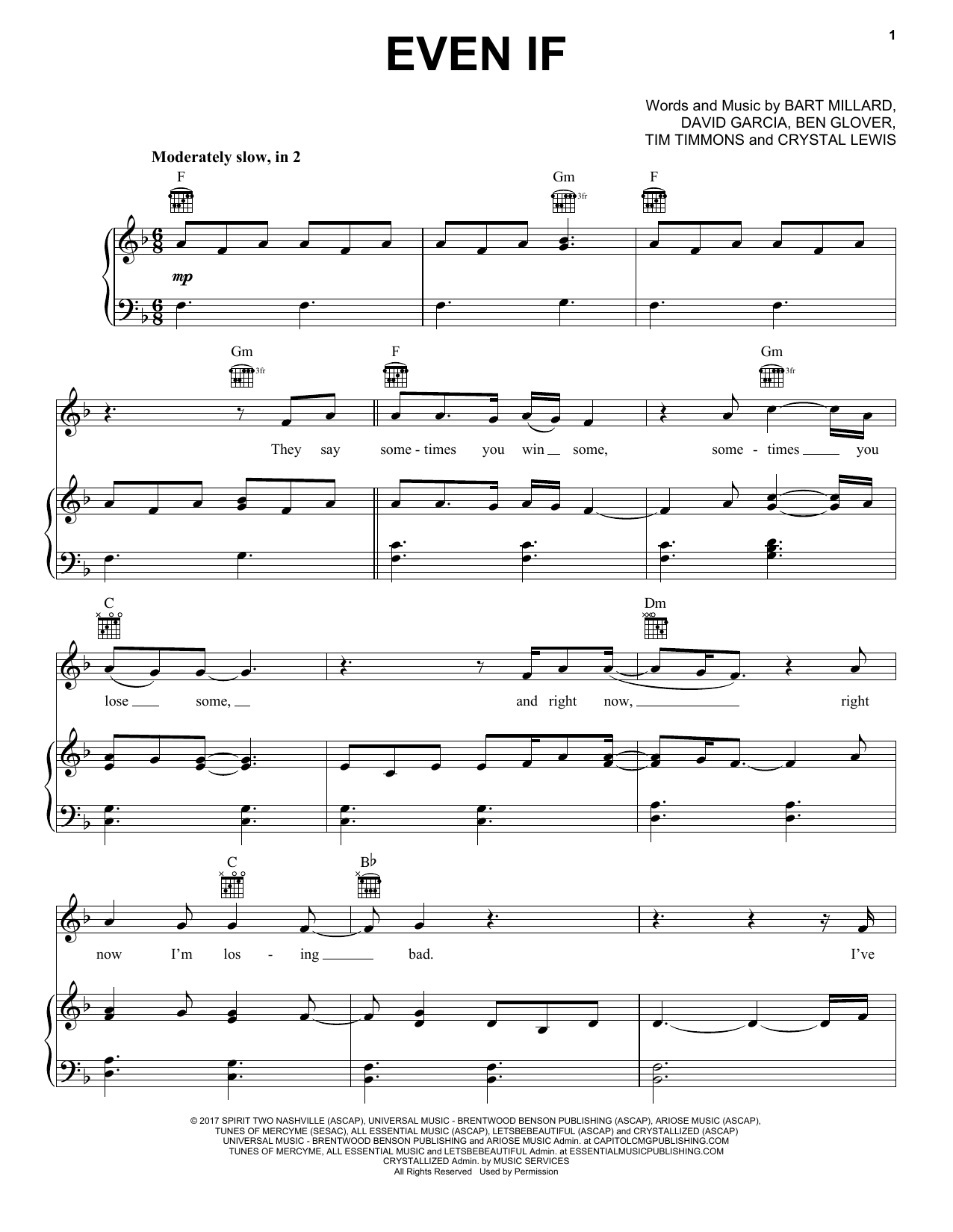 Even If (Piano, Vocal & Guitar (Right-Hand Melody))
