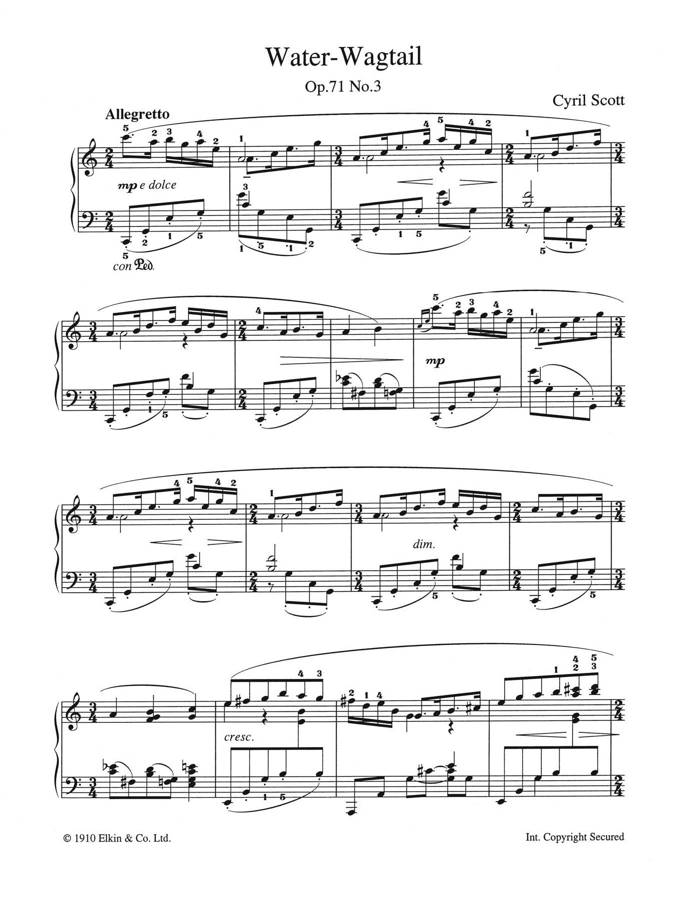 Water-Wagtail Op. 71 No. 3 Sheet Music