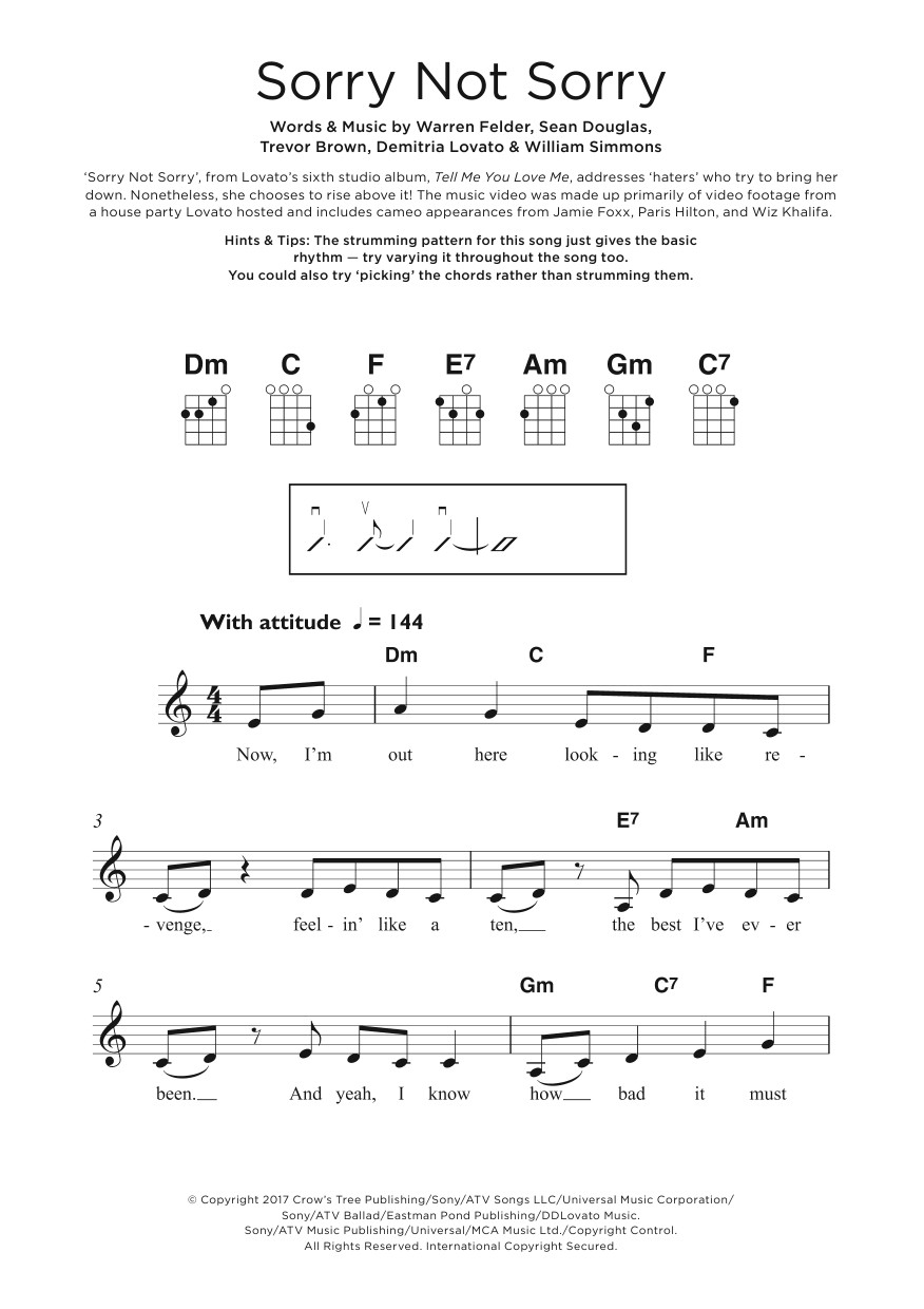 Sorry Not Sorry Sheet Music