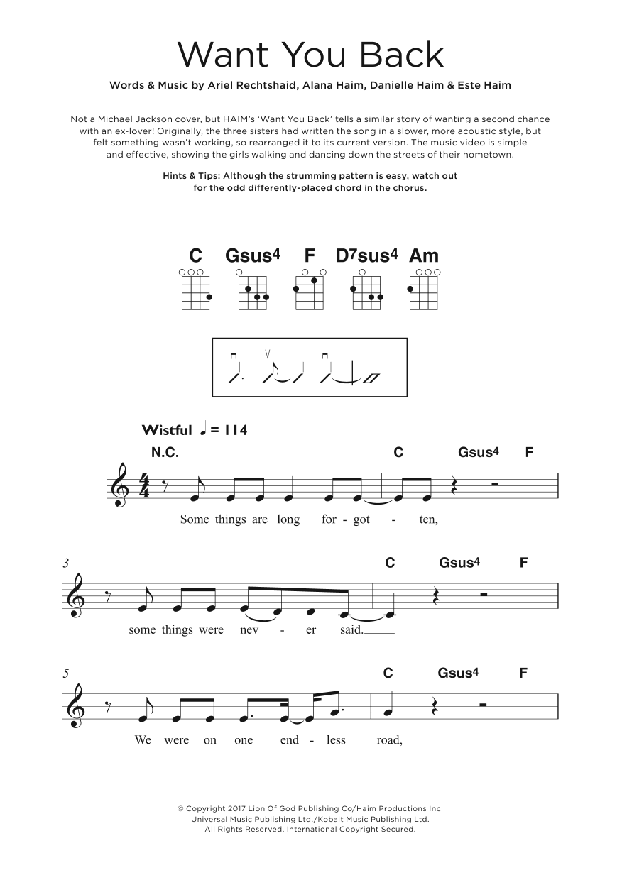 Want You Back Sheet Music