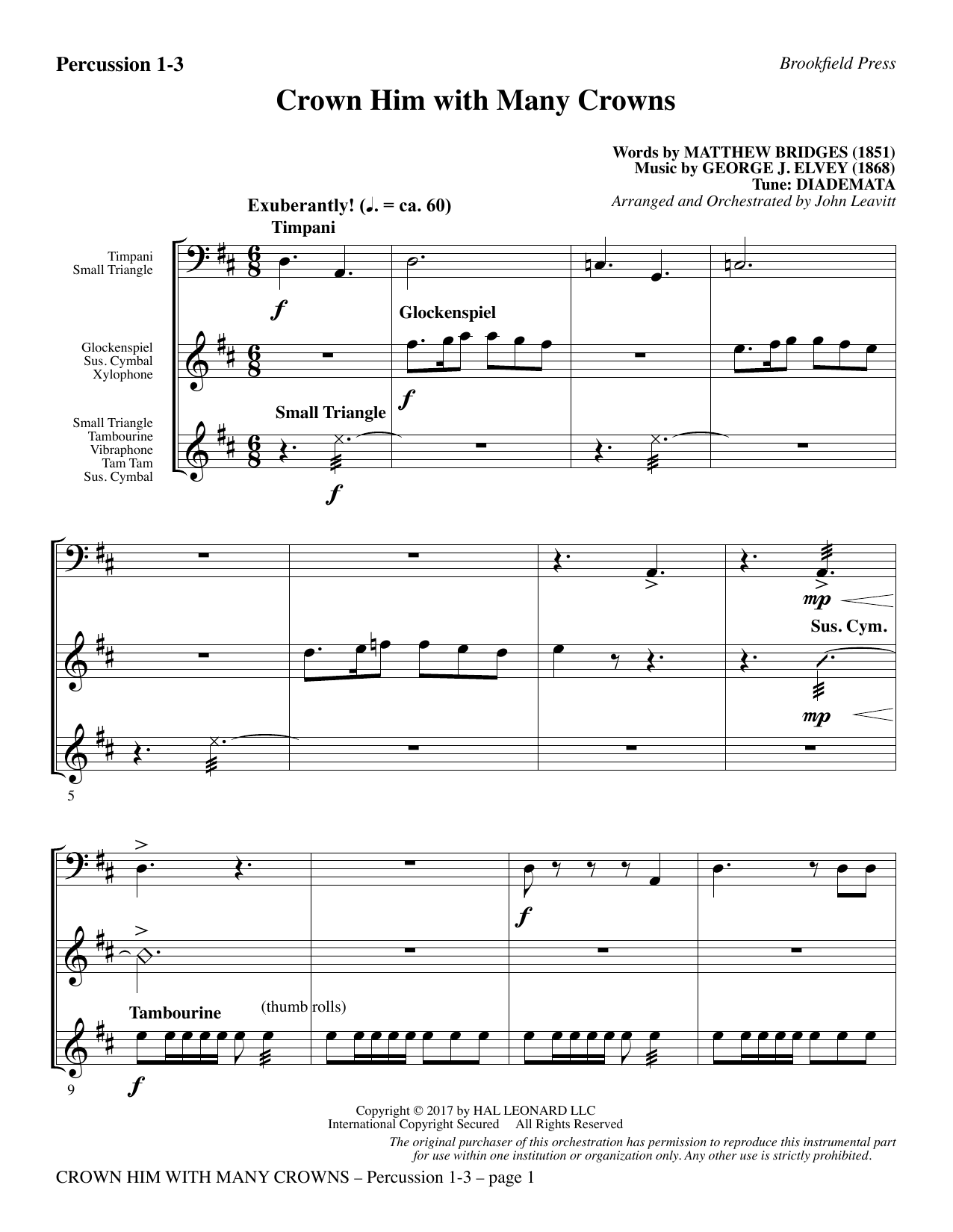 Crown Him with Many Crowns - Percussion 1-3 (Choir Instrumental Pak)