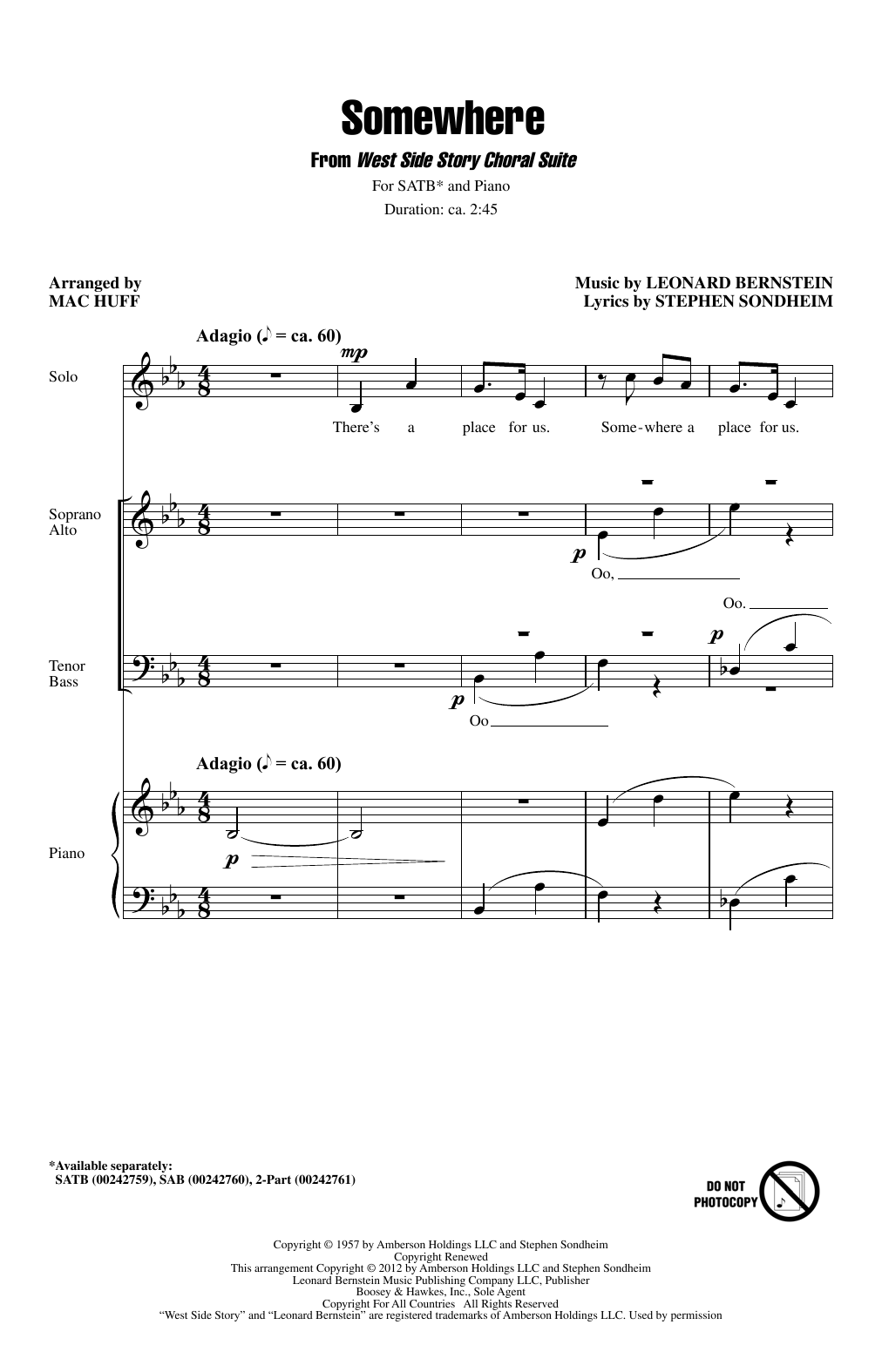 Somewhere (from West Side Story) (arr. Mac Huff) Digitale Noten