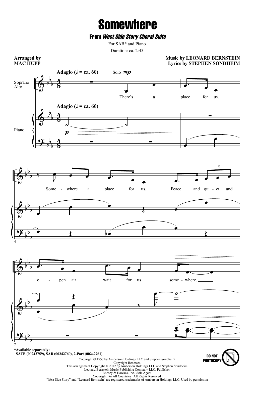 Somewhere (from West Side Story) (arr. Mac Huff) Sheet Music