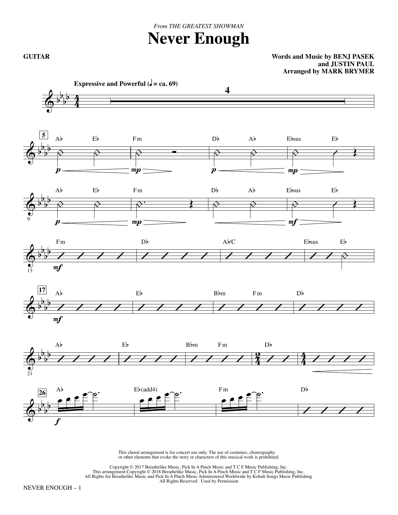 Never Enough - Guitar (Choir Instrumental Pak)