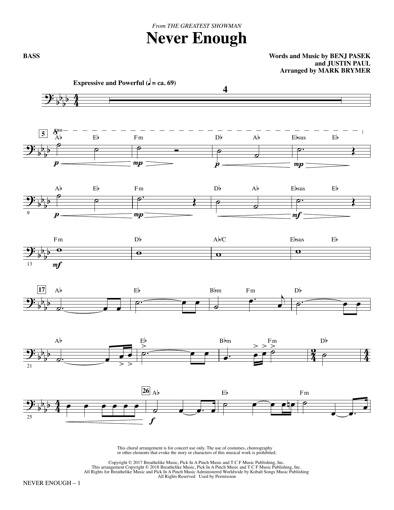 Never Enough - Bass (Choir Instrumental Pak)