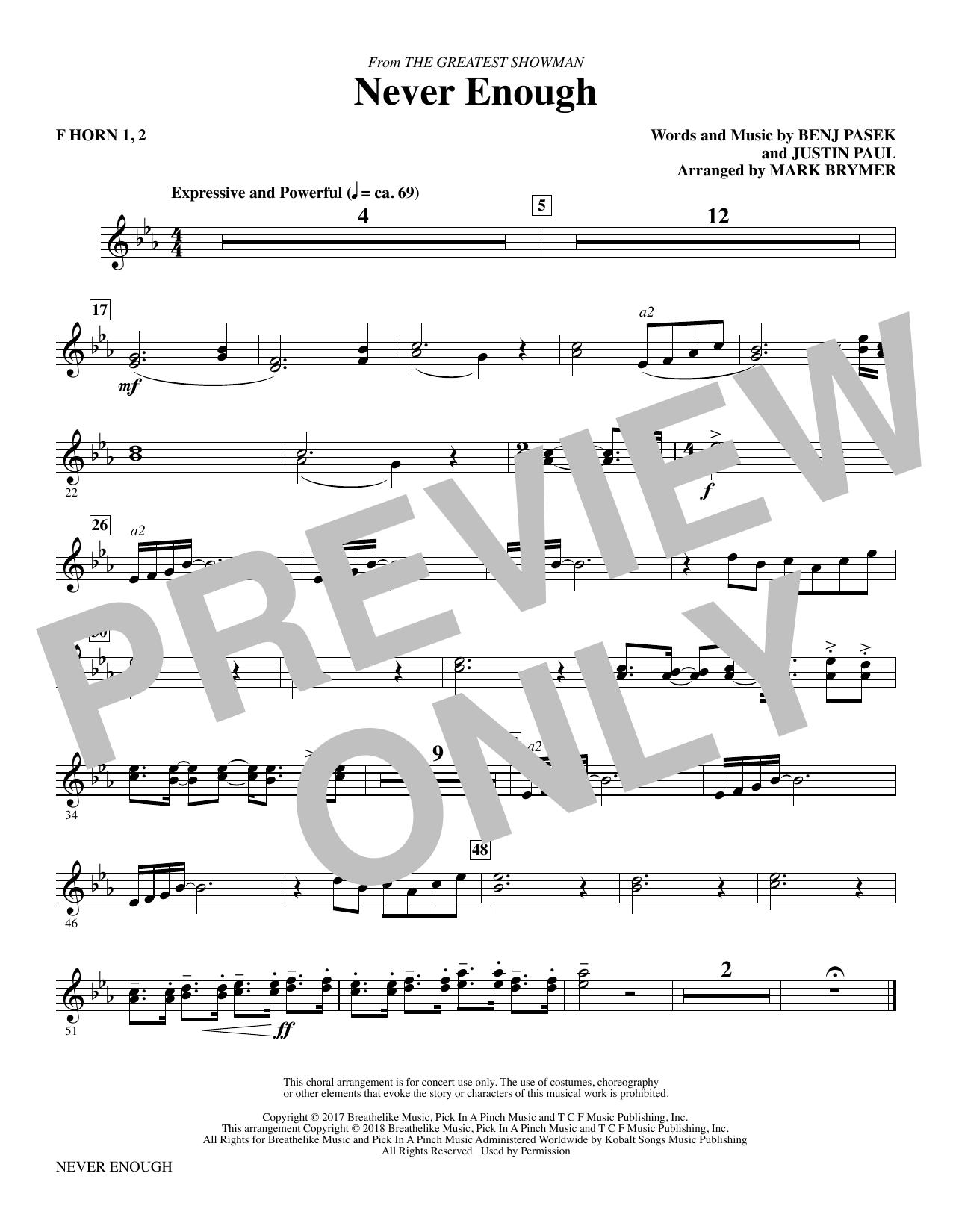 Never Enough - F Horn 1, 2 (Choir Instrumental Pak)
