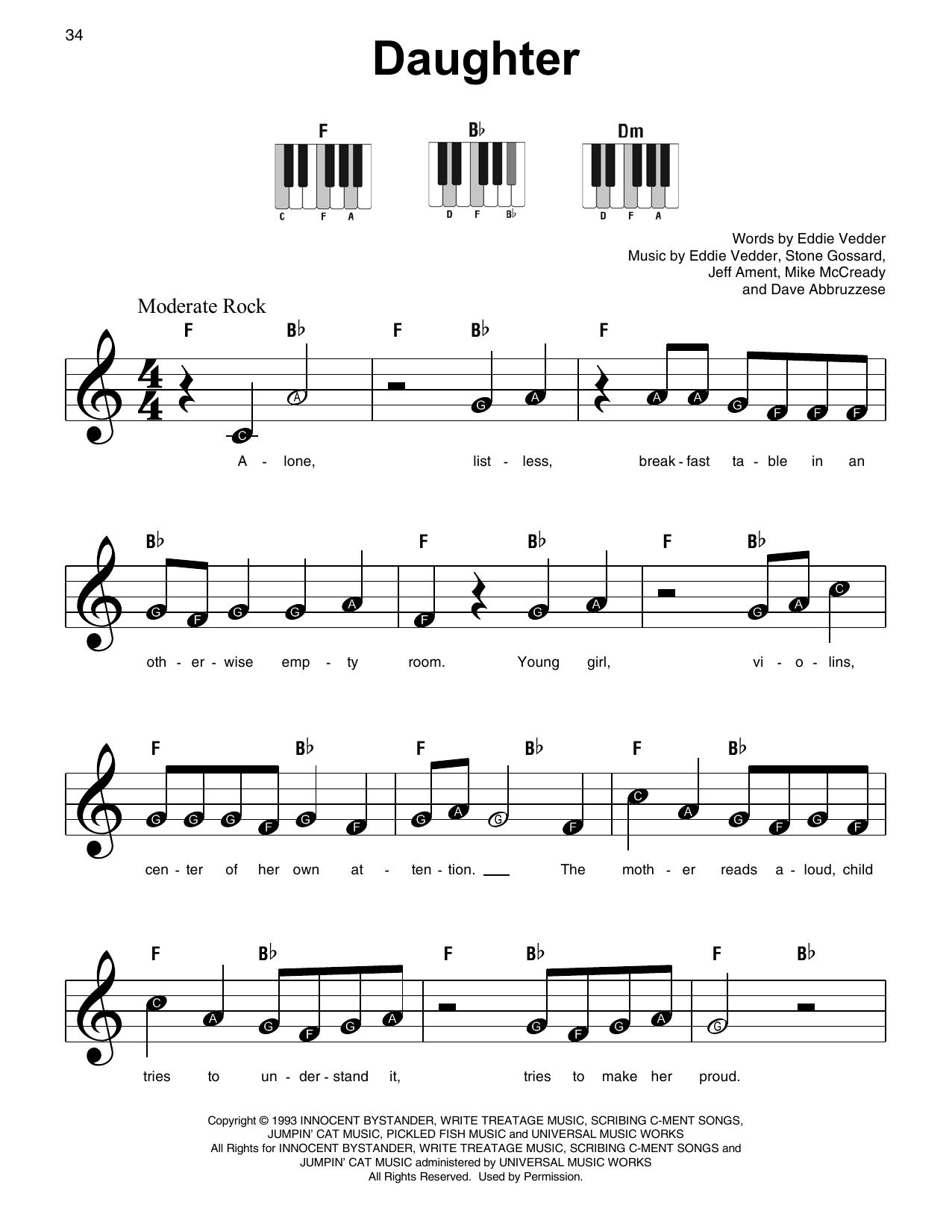 Daughter Sheet Music