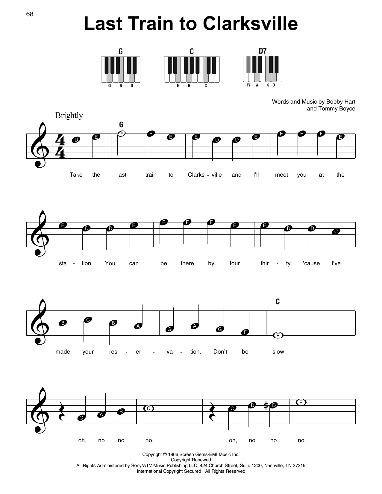 Last Train To Clarksville Sheet Music