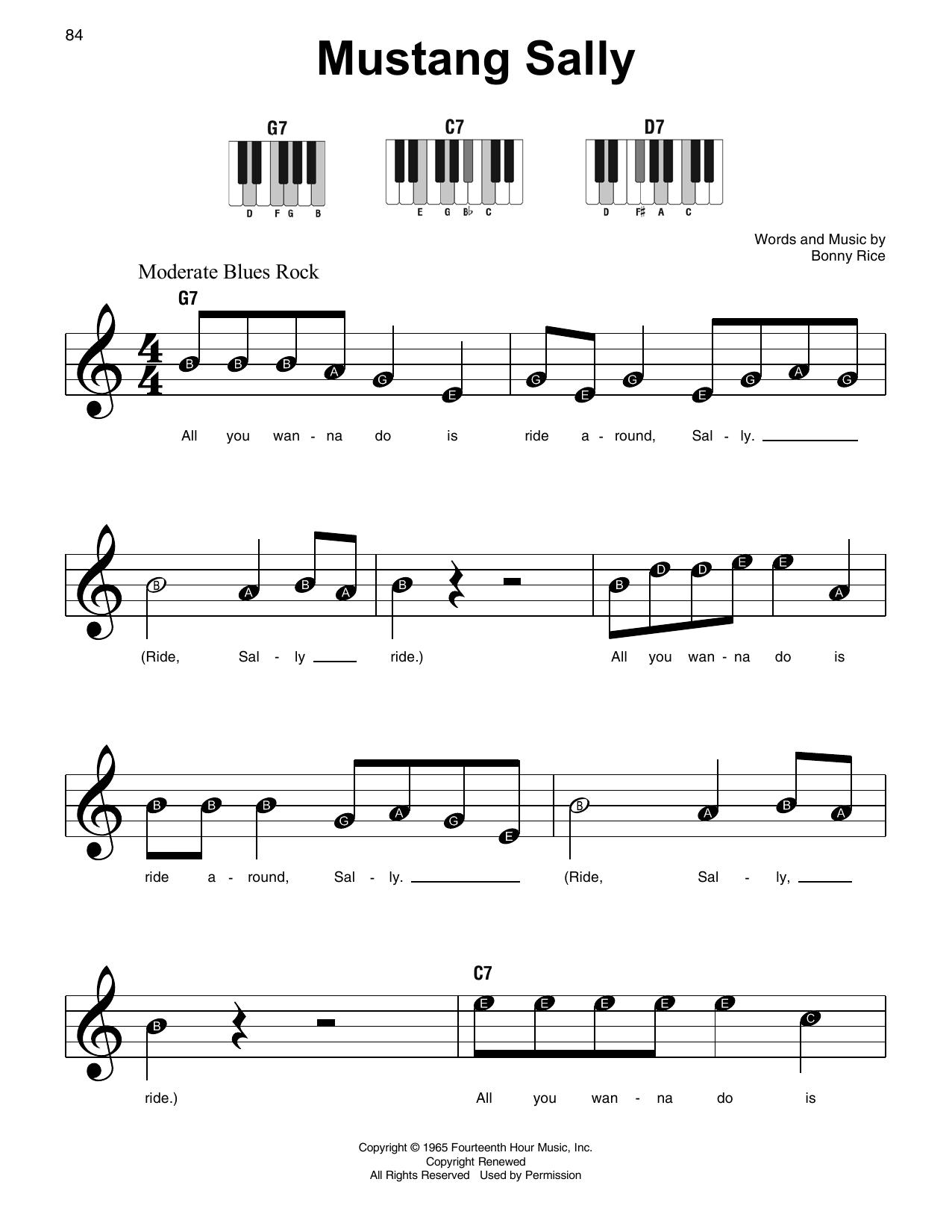 Mustang Sally (Super Easy Piano)