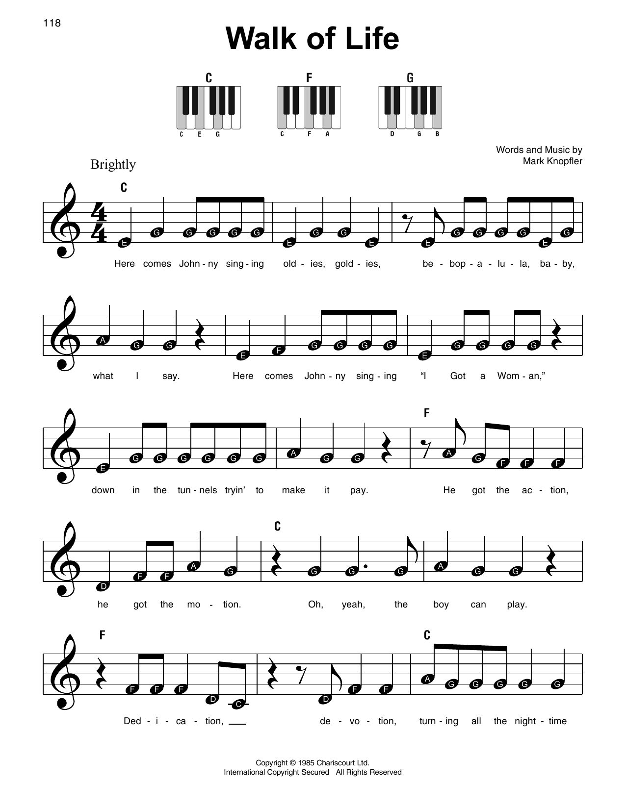Walk Of Life Sheet Music