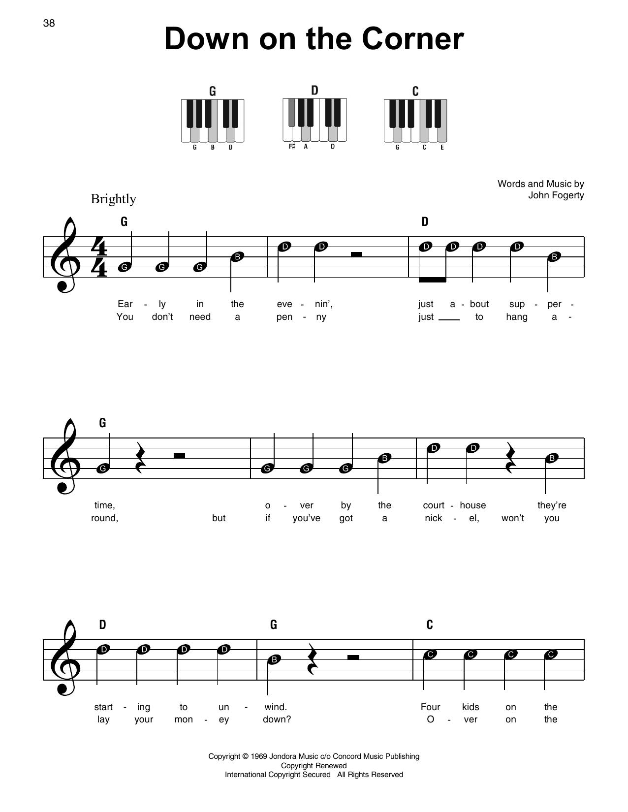 Down On The Corner (Super Easy Piano)