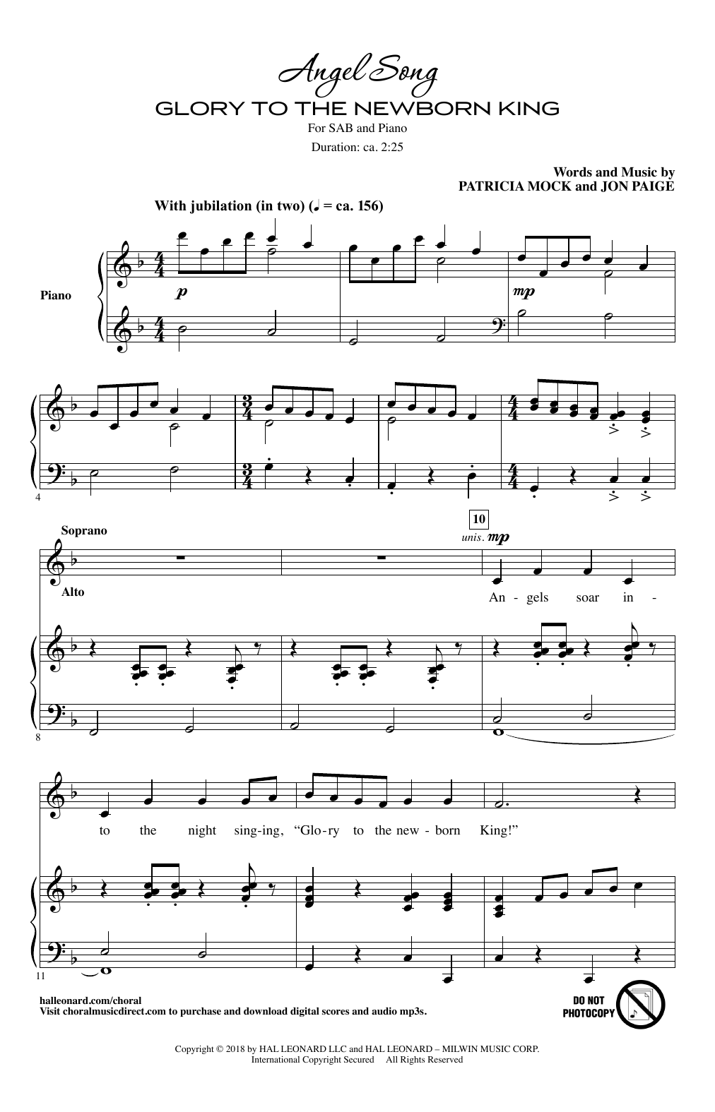 Angel Song Glory To The Newborn King By Patricia Mock Sab Choir Digital Sheet Music