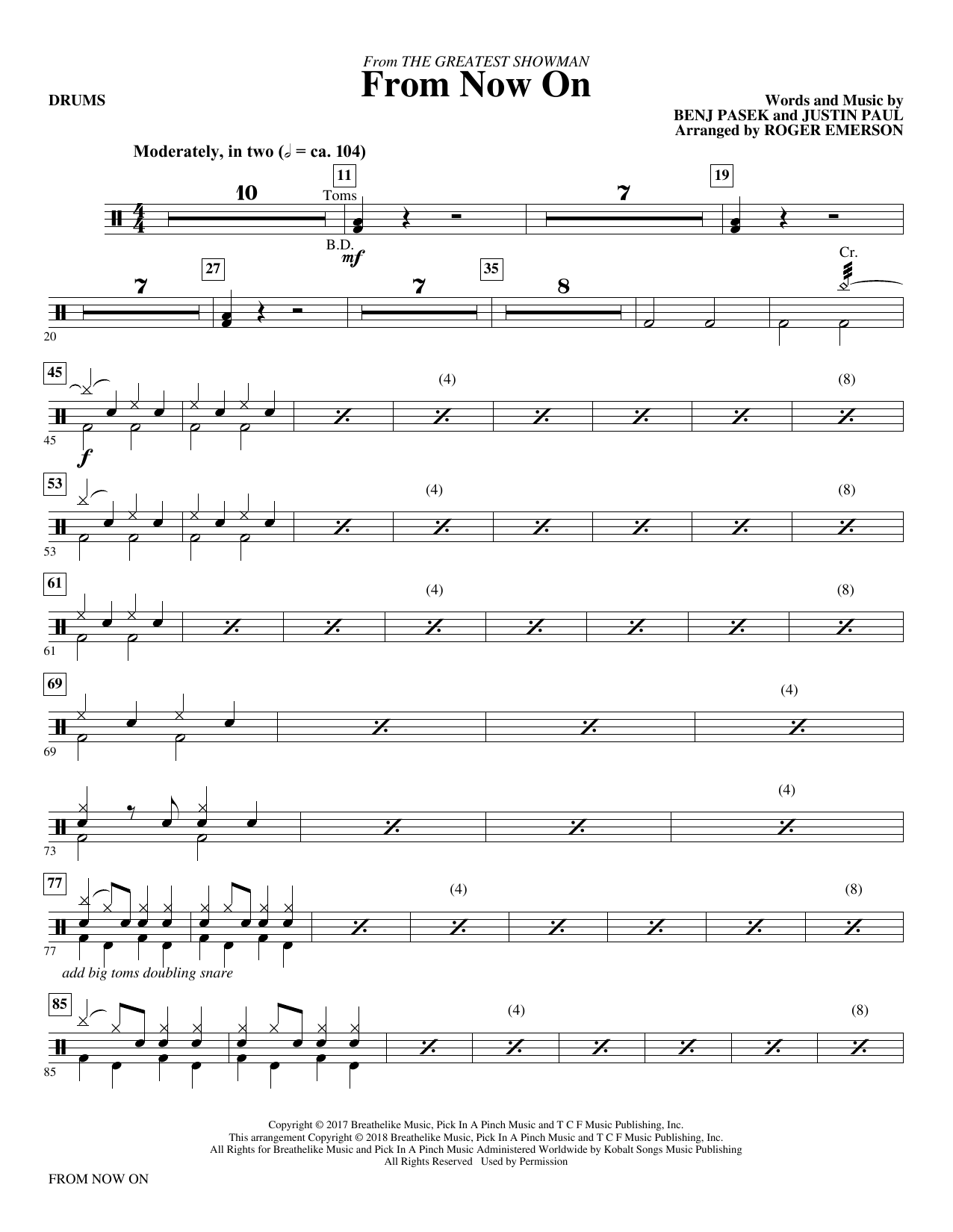 From Now On (from The Greatest Showman) (arr. Roger Emerson) - Drums (Choir Instrumental Pak)