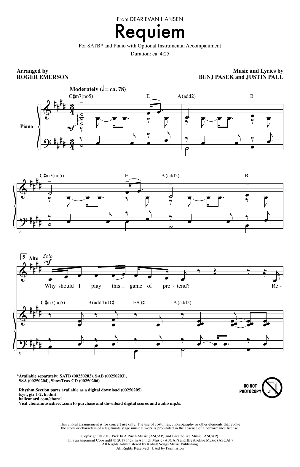 Requiem (from Dear Evan Hansen) (arr. Roger Emerson) Sheet Music