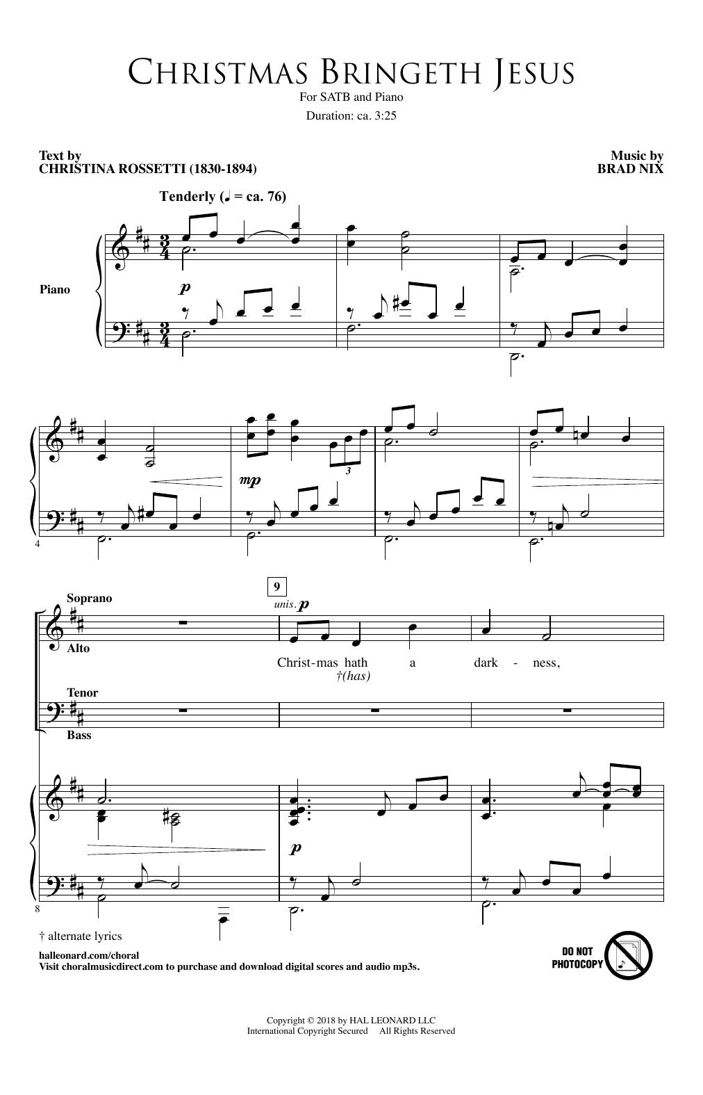 Christmas Bringeth Jesus (SATB Choir)
