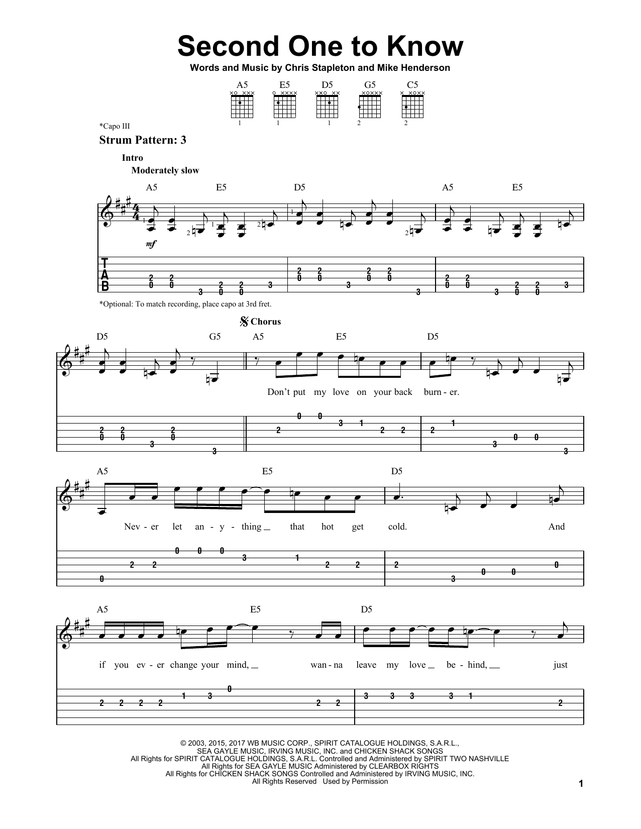 Second One To Know (Easy Guitar Tab)