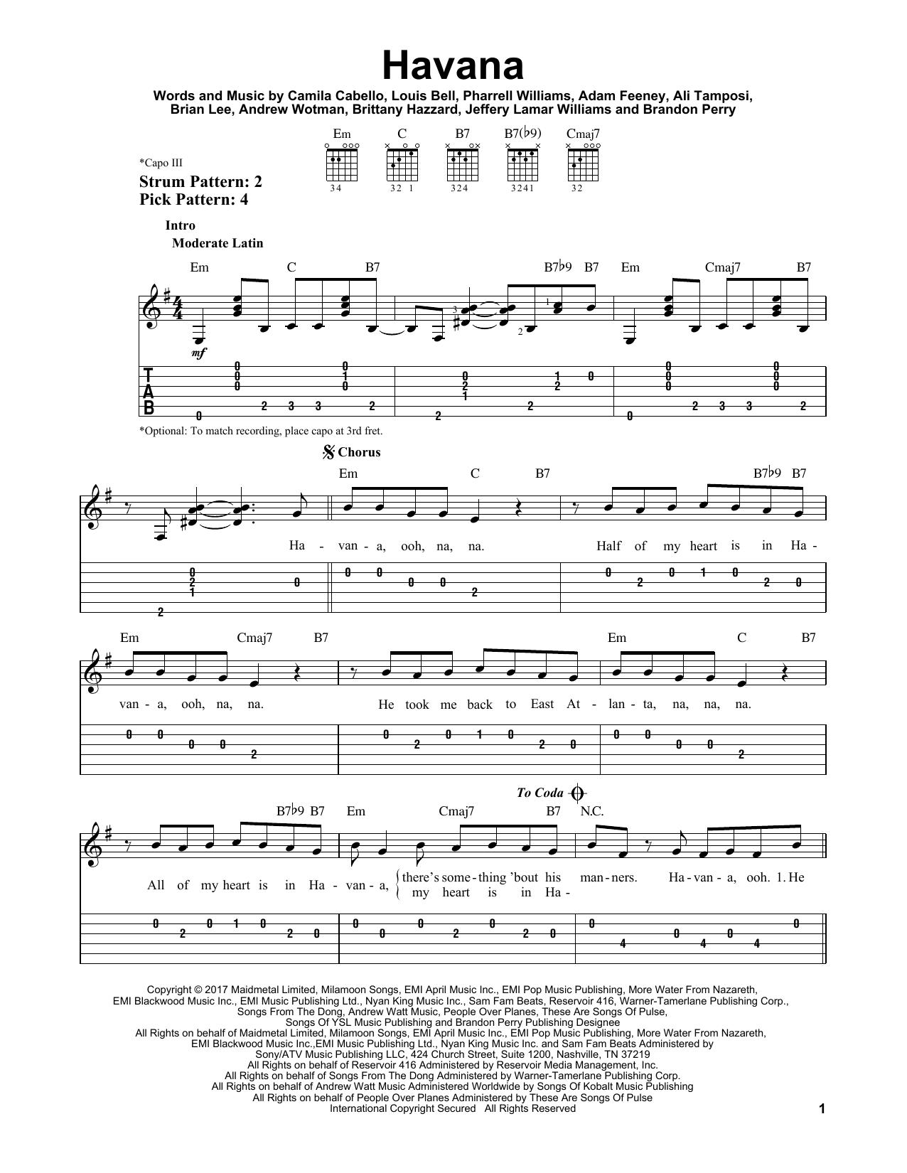 Havana (Easy Guitar Tab)