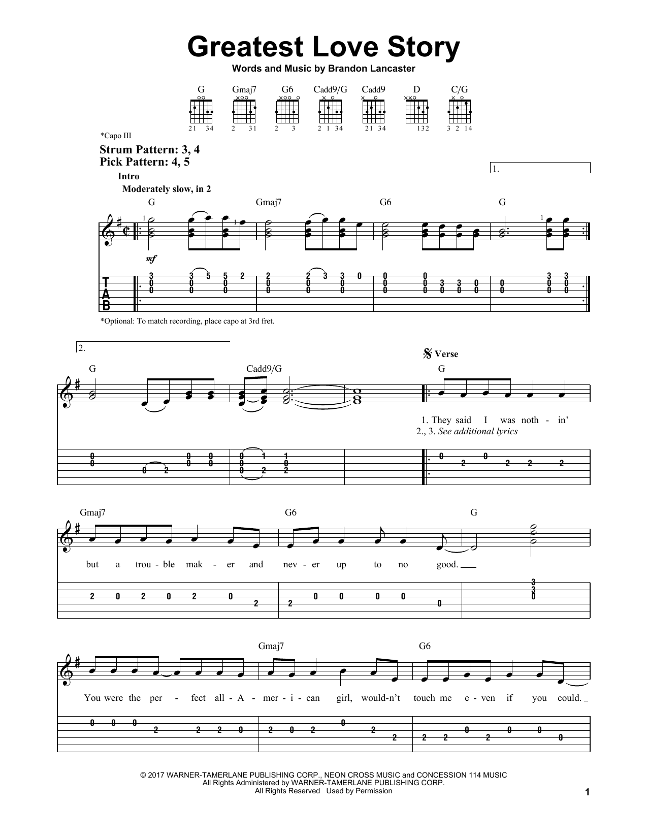 Greatest Love Story By Lanco Easy Guitar Tab Guitar Instructor