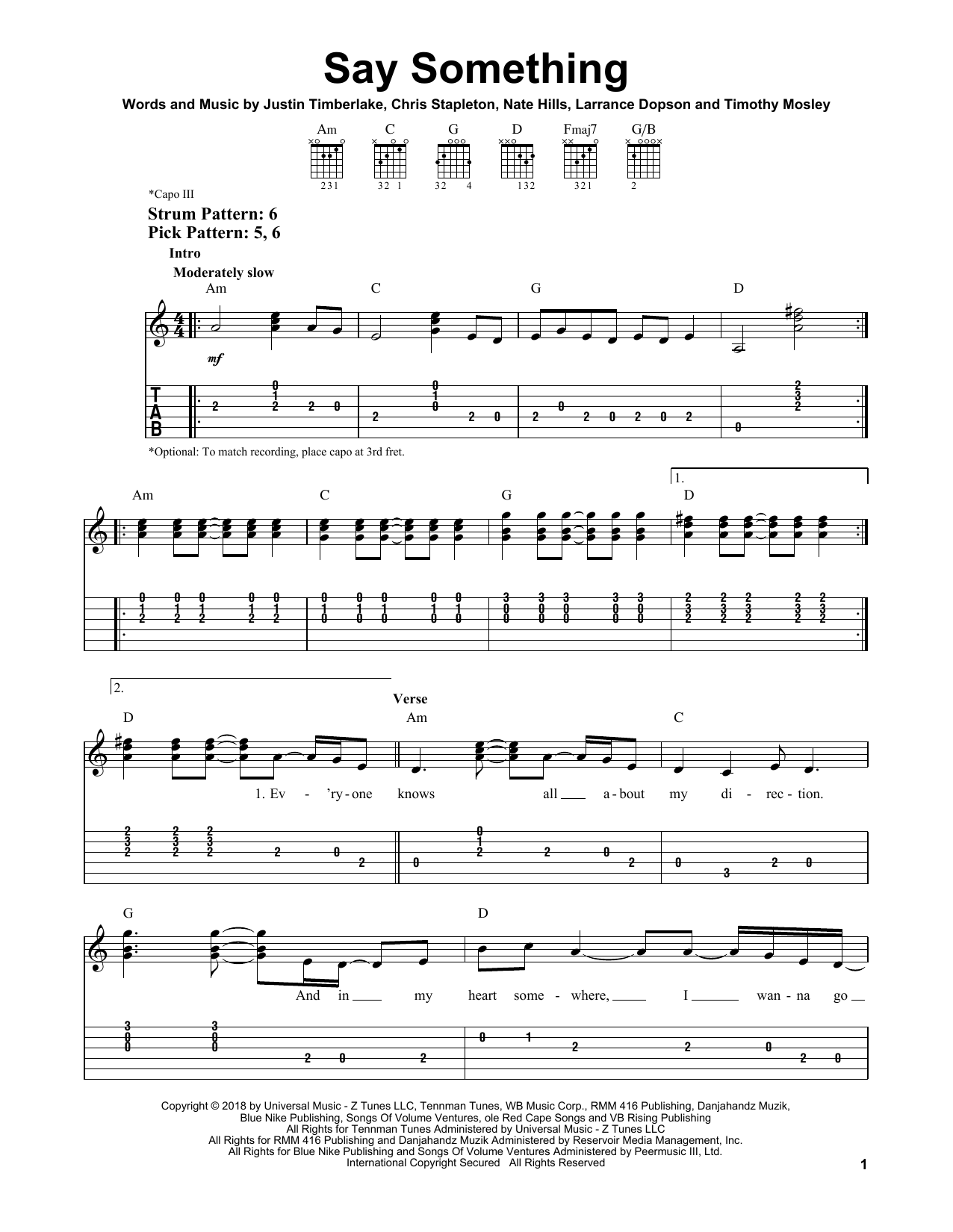 Say Something (feat. Chris Stapleton) (Easy Guitar Tab)