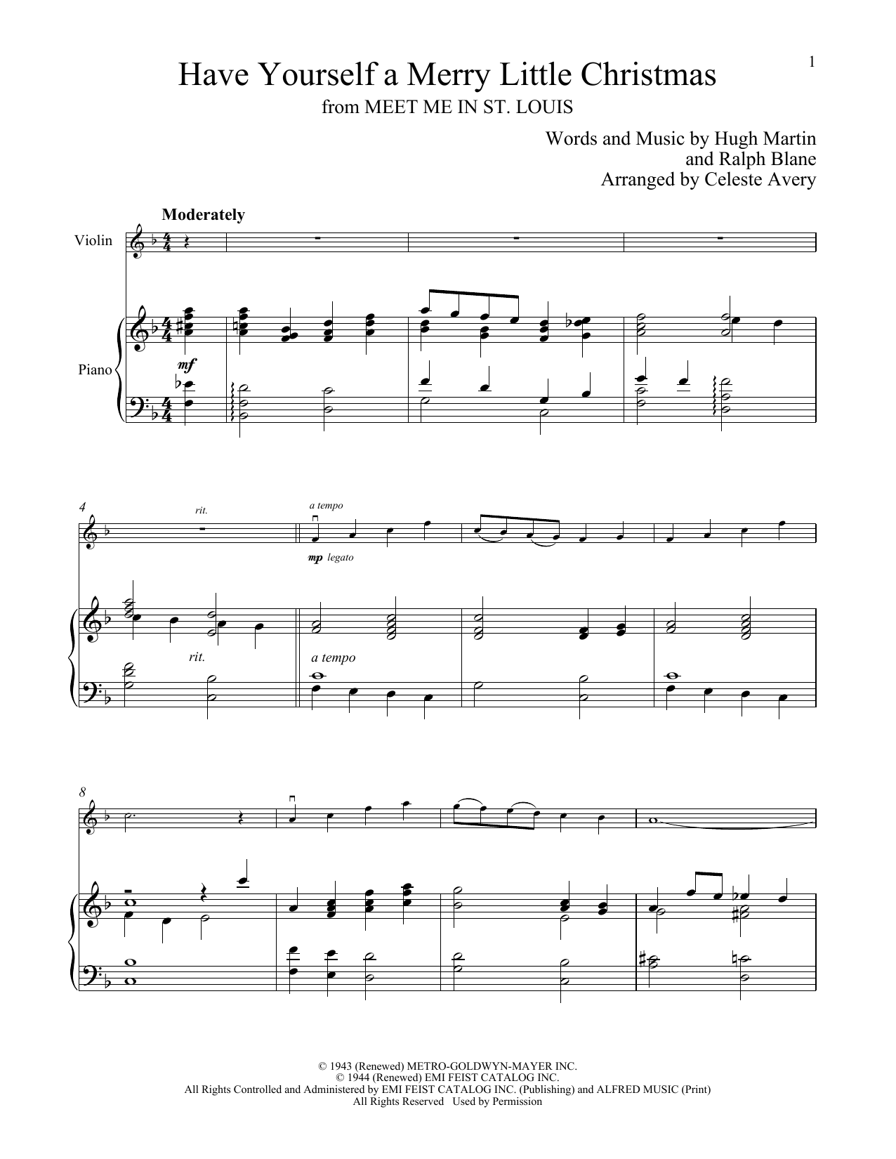Have Yourself A Merry Little Christmas Violin Sheet Music.Sheet Music Digital Files To Print Licensed Ralph Blane