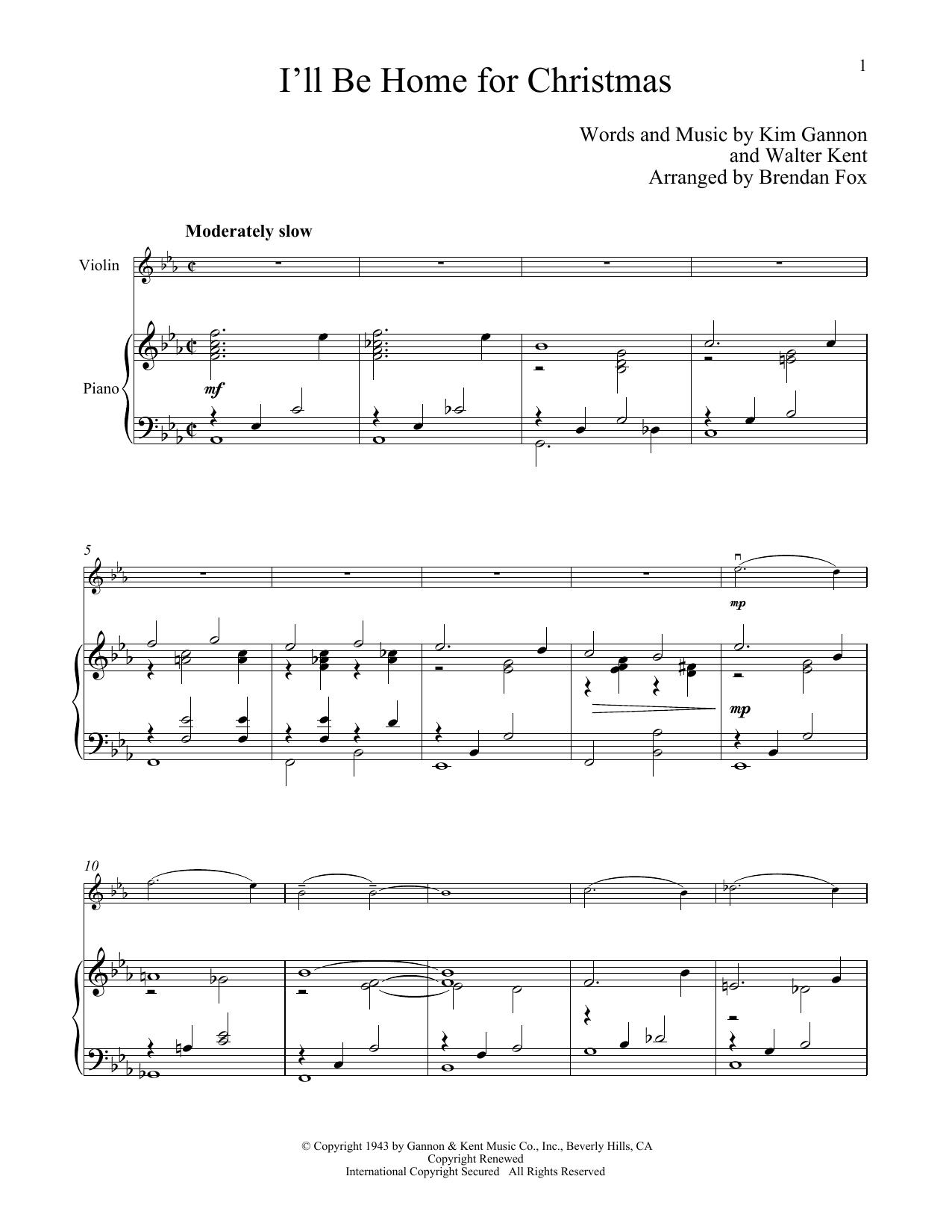 I'll Be Home For Christmas (Violin and Piano)