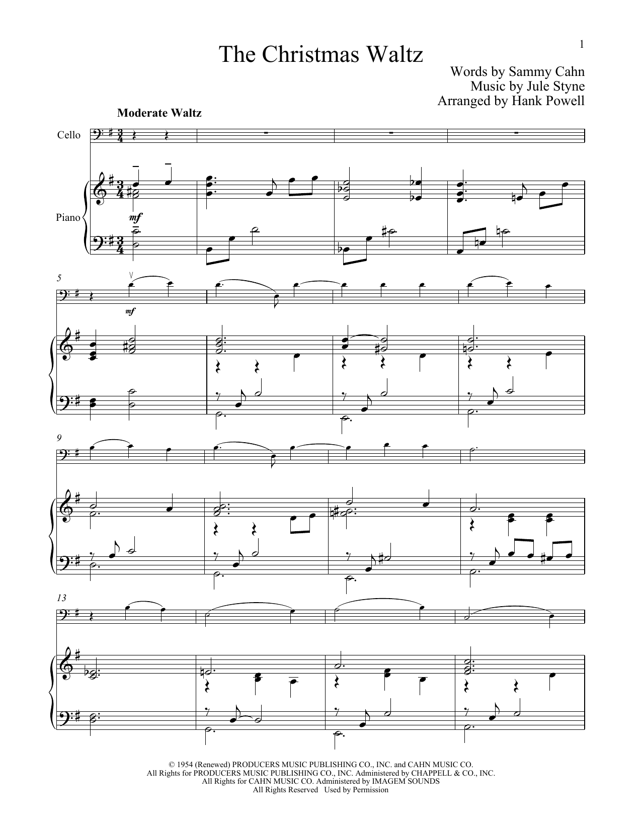 The Christmas Waltz (Cello and Piano)
