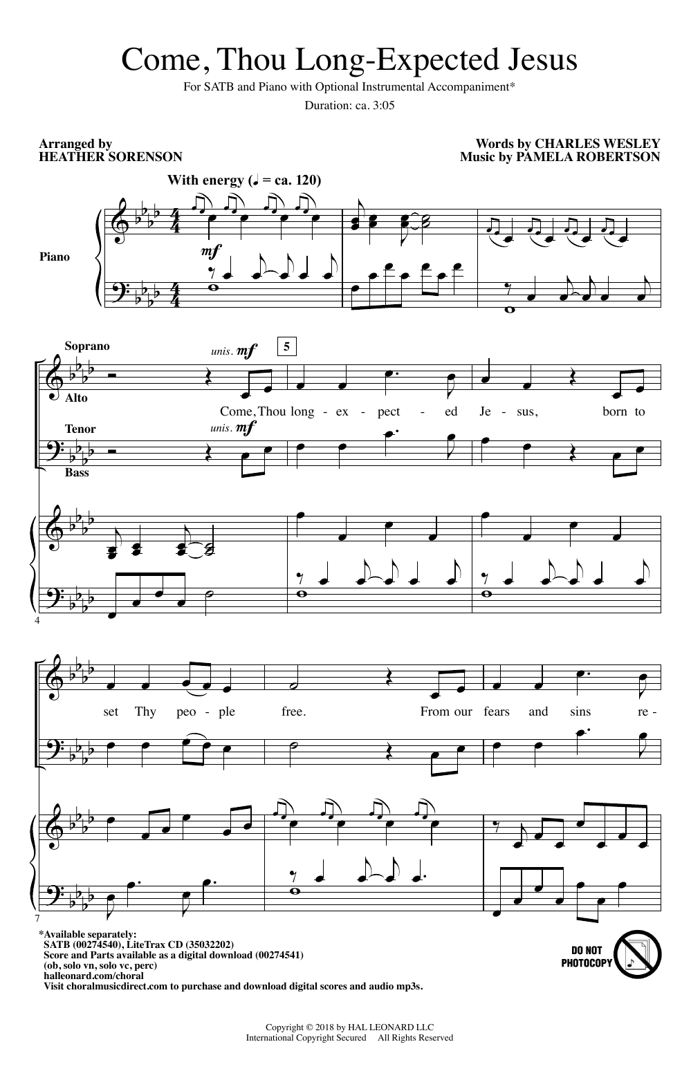 Come, Thou Long-Expected Jesus (SATB Choir)