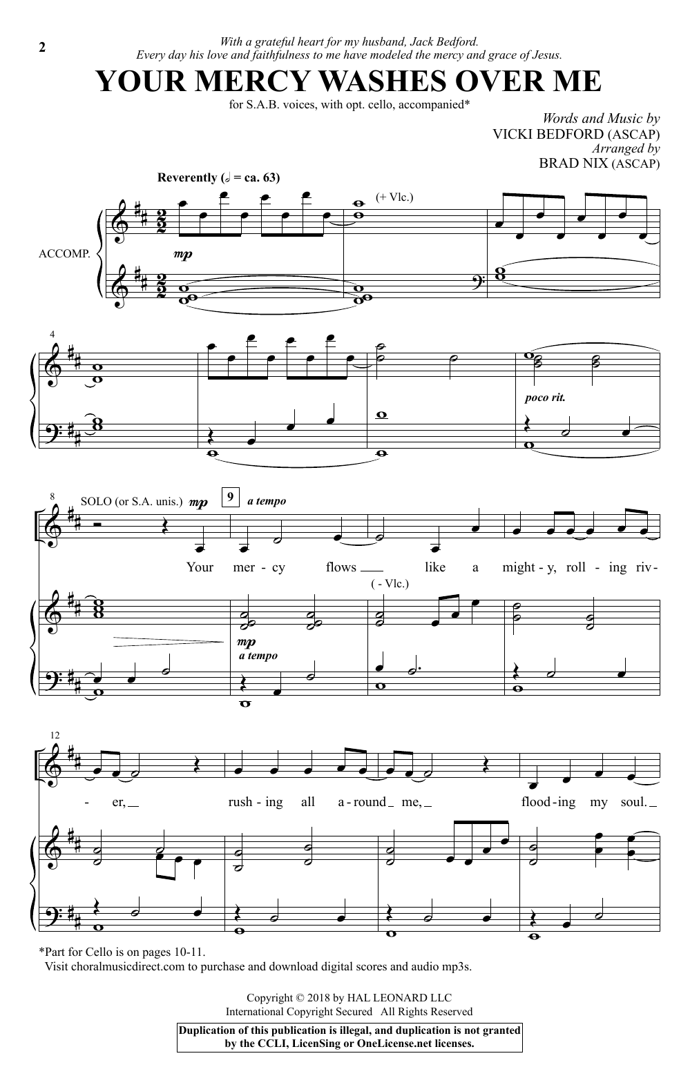 Your Mercy Washes Over Me Sheet Music
