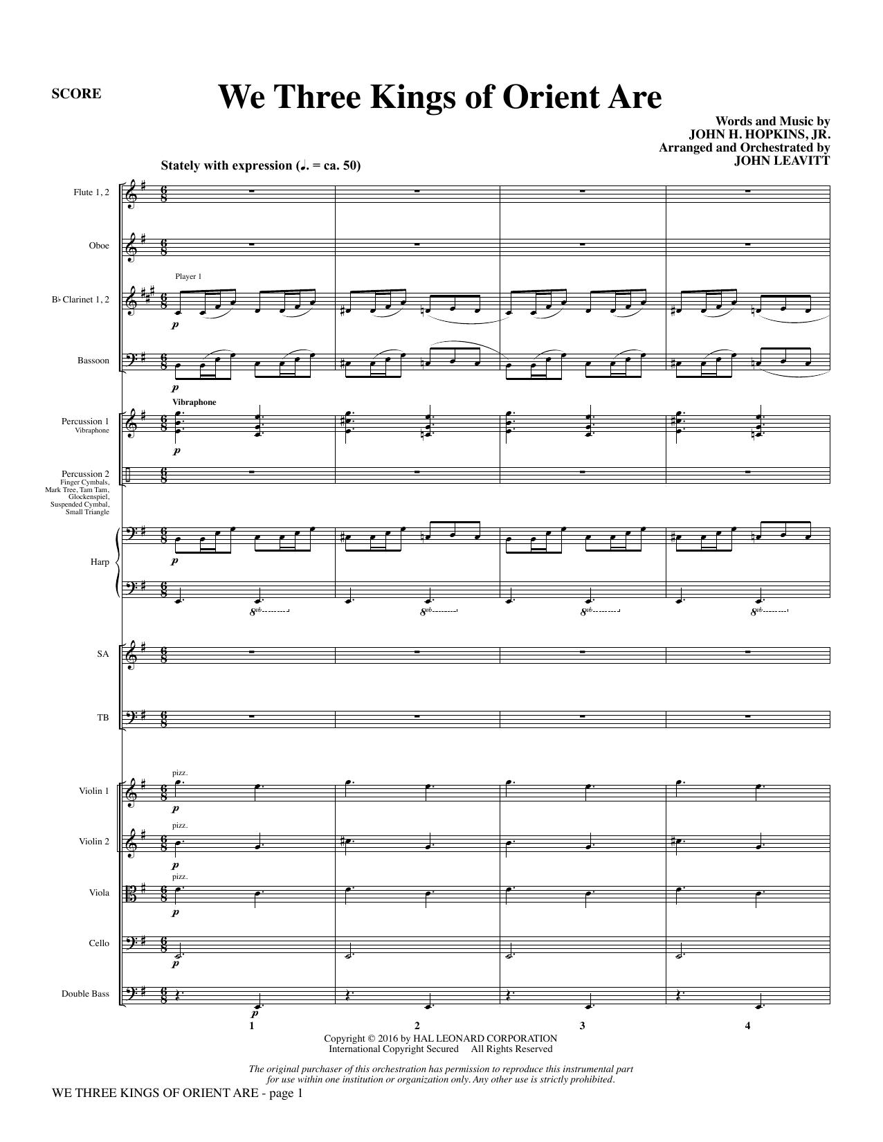 We Three Kings of Orient Are - Full Score (Choir Instrumental Pak)
