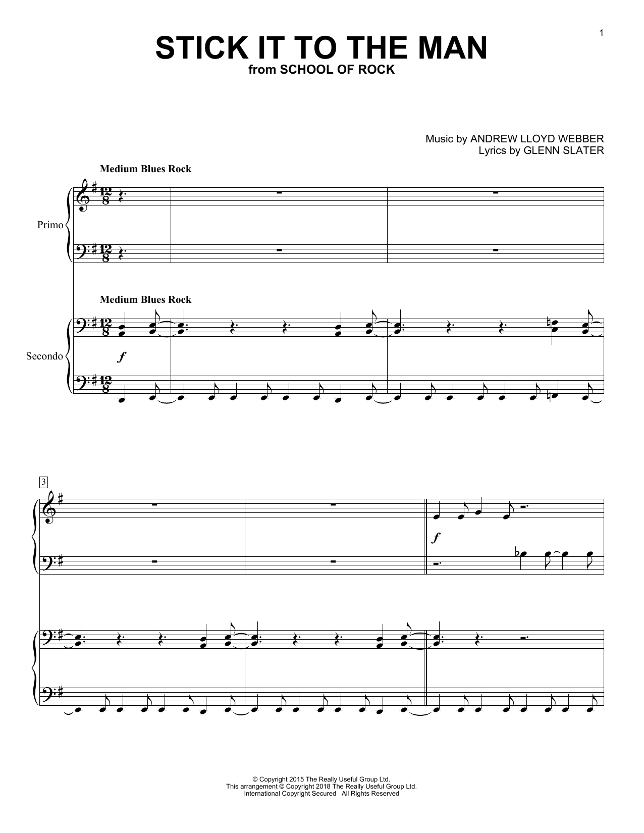 Stick It To The Man (from School of Rock: The Musical) (Piano Duet)