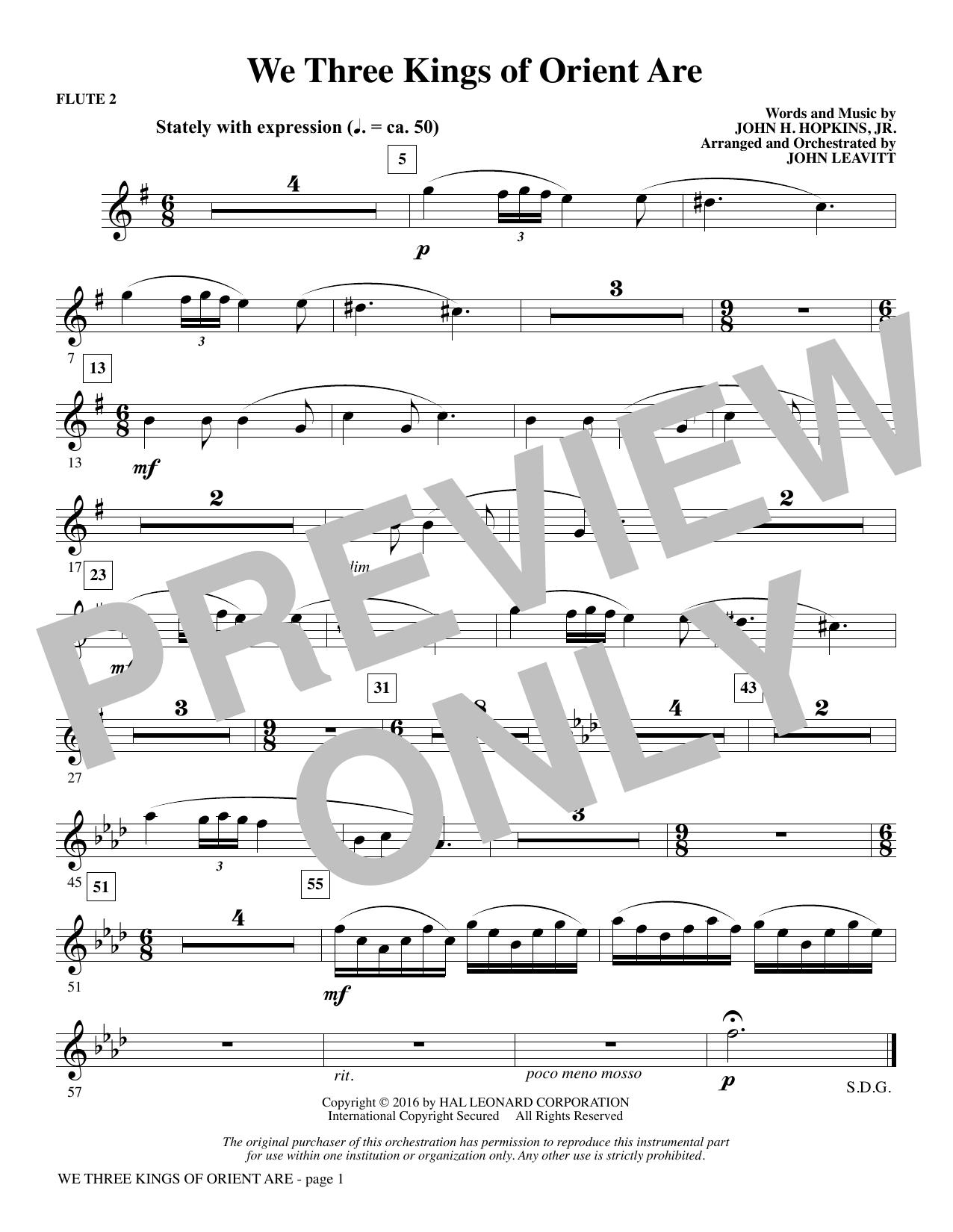We Three Kings of Orient Are - Flute 2 (Choir Instrumental Pak)
