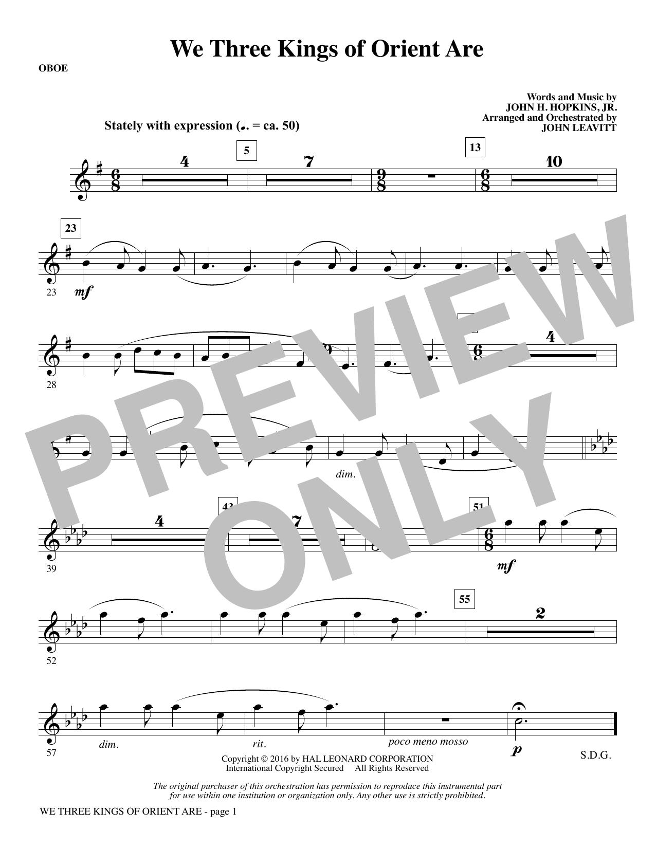 We Three Kings of Orient Are - Oboe (Choir Instrumental Pak)