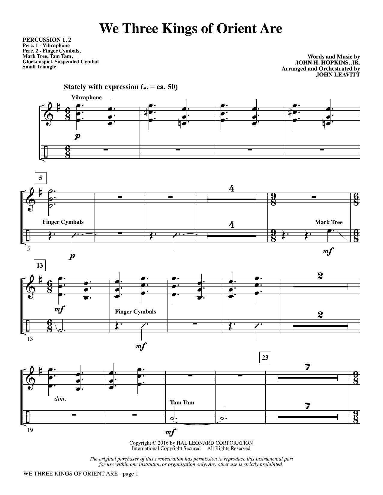 We Three Kings of Orient Are - Percussion 1 & 2 (Choir Instrumental Pak)